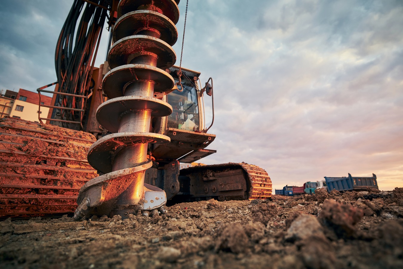 Building,Activity,On,Contruction,Site.,Close-up,View,Of,Drilling,Machine